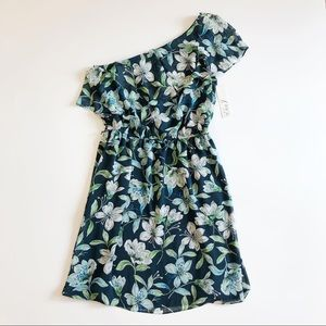 Eliza J NWT Green White One Shoulder Floral Dress